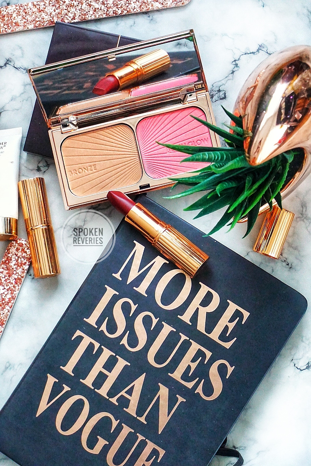 Charlotte Tilbury Bronze and Blush Glow and Opium Noir Lipstick