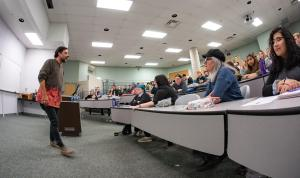 George Stroumboulopoulos speaks to Conestoga students.