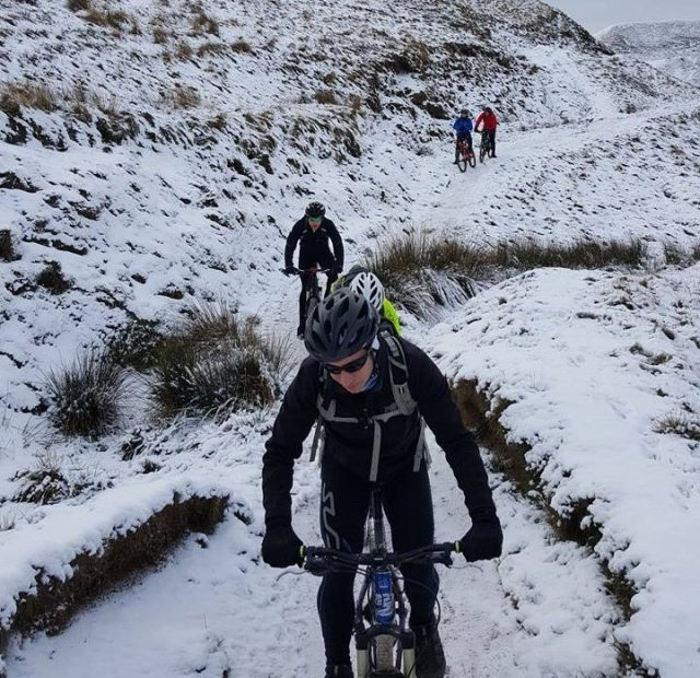 Snowy trails in the Peak District