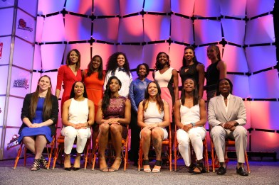 Uncasville, CT - April 16, 2015 - Mohegan Sun Arena: The draftees on the stage during the WNBA Draft 2015 presented by State Farm