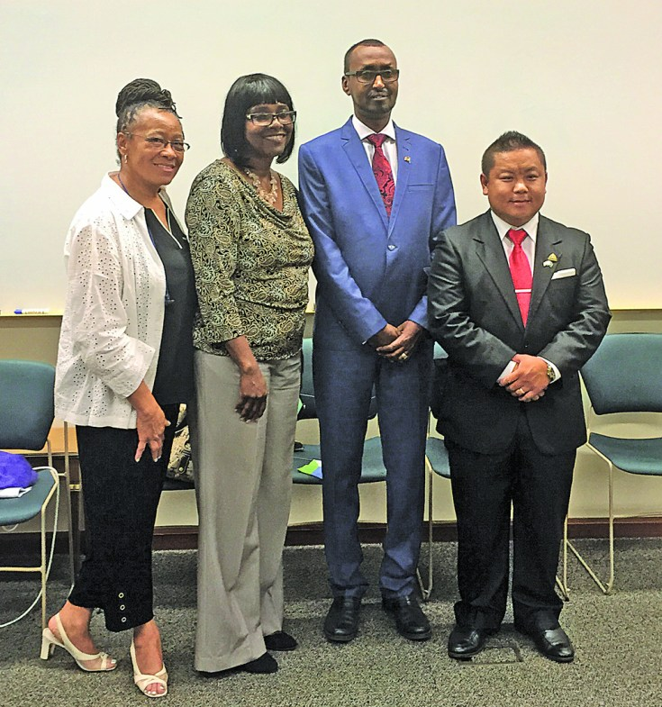 Joining the ceremonial Sister-City signing were (l-r) Ramsey County Commissioner Toni Carter, State Rep. Rena Moran, Djibouti City Mayor Houssein Abdillahi Kayad, and St. Paul Council Member Dai Thao.