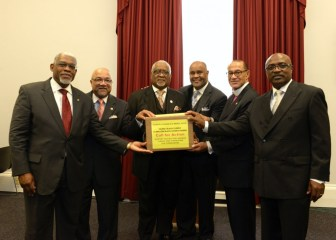 Leaders of the nation's major Black churches, from left, the Rev. Dr. Earl D. Trent, Jr., the Rev. Dr. Timothy Tee Boddie, the Rev. Jesse V. Bottoms, Jr., the Rev. Brian K. Brown, Bishop Carroll A. Baltimore and Bishop James B. Walker presented over 10,000 pastors' signatures to Congressional Black Caucus members in support of President Obama's Clean Power Plan.