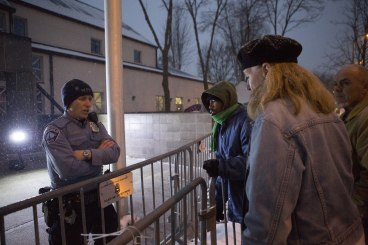 Protesters talking to police, Dec. 1
