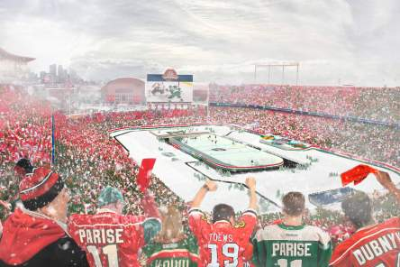 This artist's rendering of the U of M outdoor hockey arena reflects the lack of diversity in the sport.