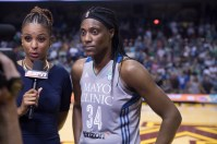 (l-r) LaChina Robinson of ESPN and Lynx center/2017 MVP Sylvia Fowles