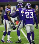 Cornerback Xavier Rhodes was restrained by teammates during a heated moment during the game