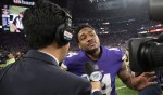 Stefon Diggs talks to the press