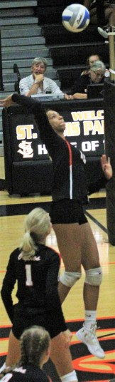 """Middle hitter Kendall Coley, a 6'1"""" sophomore, leads St. Louis Park in kills, solo blocks and total blocks."""