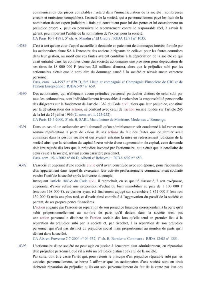 action individuelle en responsabilité des dirigeants Editions Francis Lefebvre Page3 - Définition de l'action individuelle de RANARISON Tsilavo pour bénéficier des intérêts civils d'après les Editions Francis Lefebvre