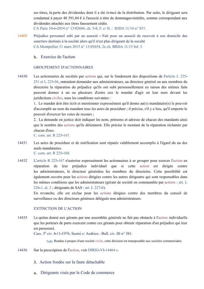 action individuelle en responsabilité des dirigeants Editions Francis Lefebvre Page7 - Définition de l'action individuelle de RANARISON Tsilavo pour bénéficier des intérêts civils d'après les Editions Francis Lefebvre