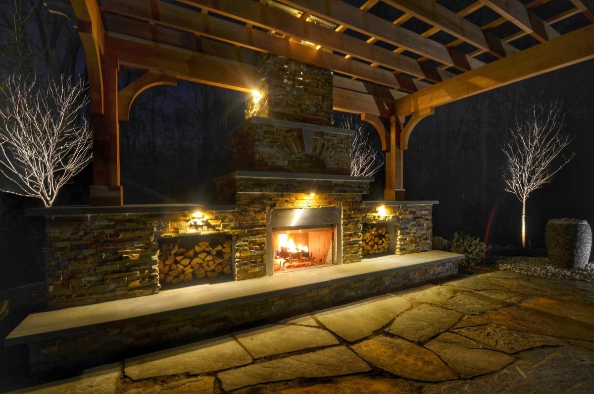 Patio Design With Pergola And Fireplace Sponzilli