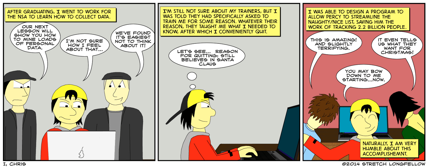 What's funny is that the NSA will probably mine data from this comic.  What's good is that there's no way anyone can trawl through as much information as they gather.  What's sad is that no one in the NSA will actually read this.