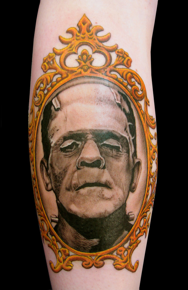 Frankenstein's Monster tattoo by asussman. Check out the bride he put on her other calf.