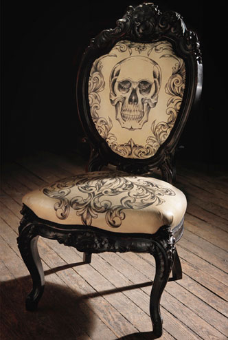 Hand tattooed chair