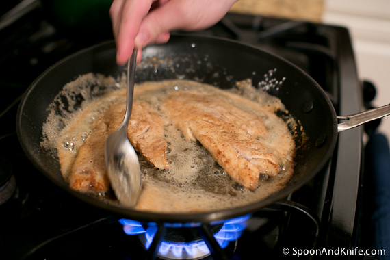 Vermilion Snapper in the pan, glazing with the pan juices
