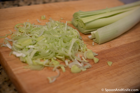 Preparing the leeks for our side dish