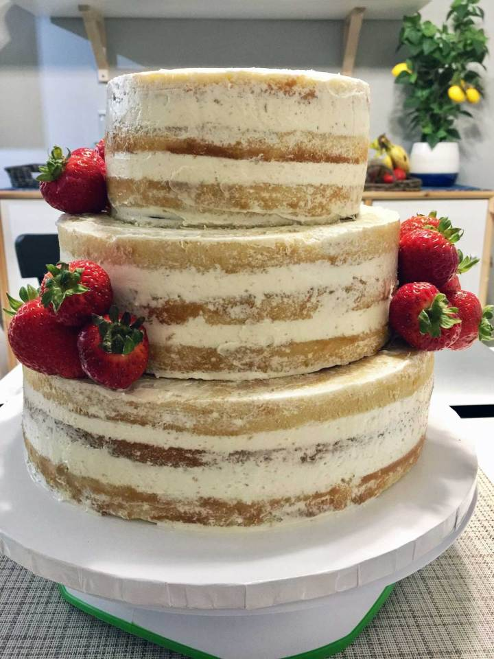 rustic wedding cake trial