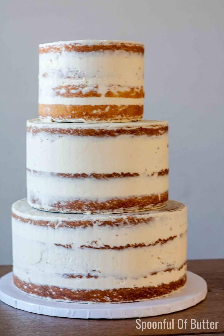 rustic semi-naked tiered cake