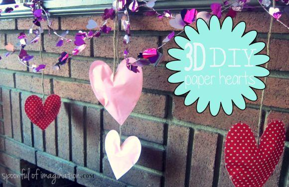 3d diy paper hearts