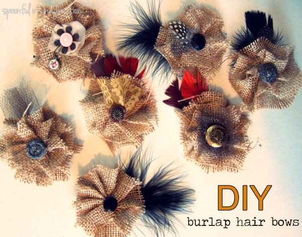 vintage burlap hair bows
