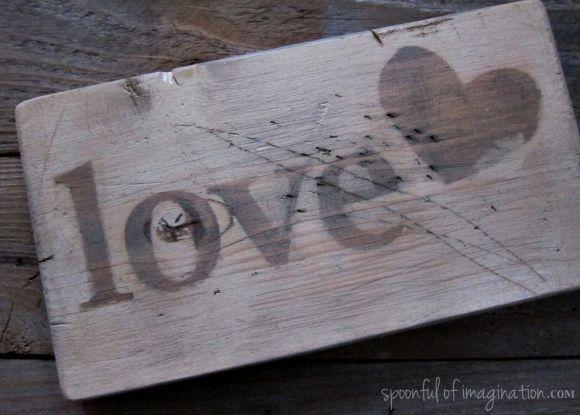 vintage love wood sign