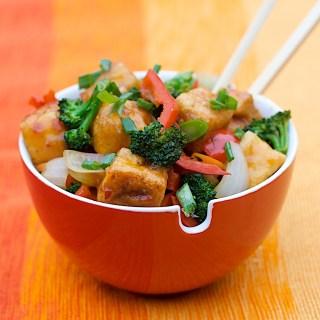 Sweet Chile-Pineapple Glazed Tofu with Mixed Veggie Stir Fry