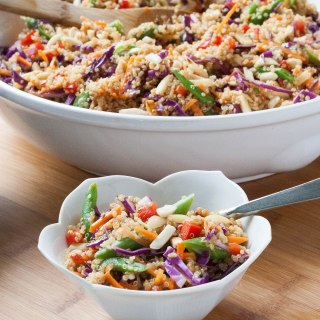 Asian Quinoa Salad with Almond-Soy-Ginger Dressing