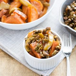 Spiced Maple-Glazed Sweet Potatoes, Apples and Butternuts with Caramelized Pepitas