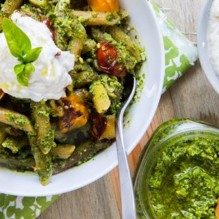 Penne with Kale Pesto, Almond Ricotta and Roasted Cherry Tomatoes