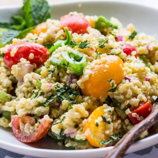 Curry-Lime Quinoa salad with Snap Peas, Cherry Tomatoes and Pistachios