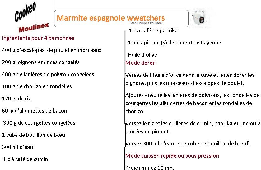 MARMITE ESPAGNOLE FICHE weight watchers