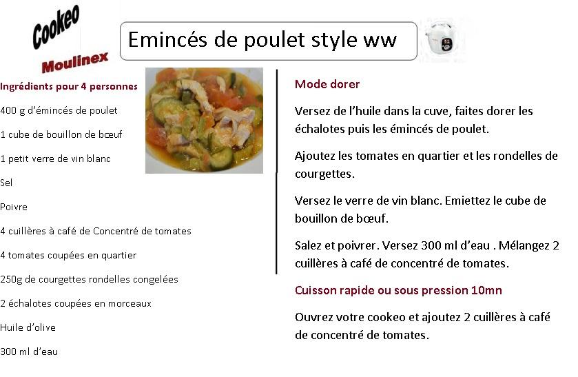 fiche recette cookeo eminces poulet