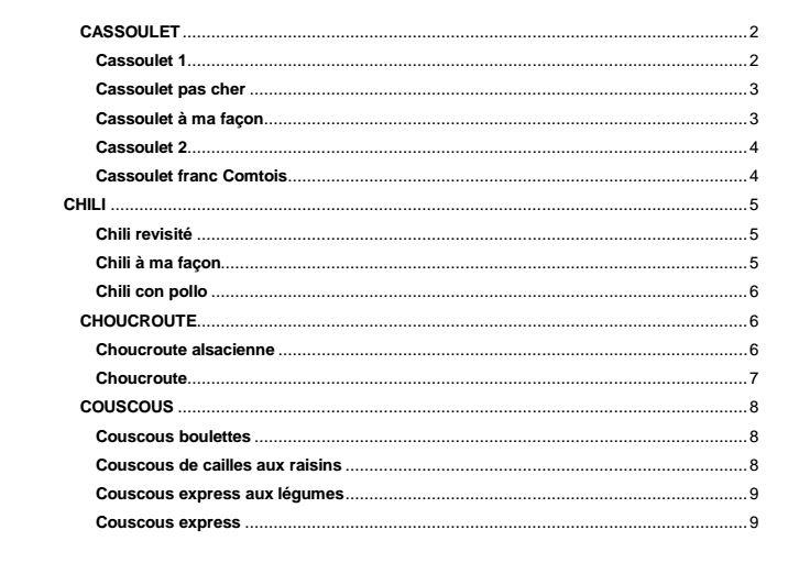 tables de smatières couscous