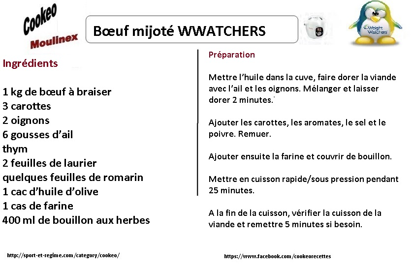 Boeuf mijoté weight watchers au cookeo