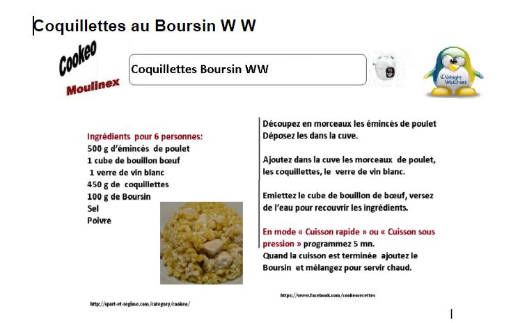 coquillettes au Boursin weight watchers au cookeo