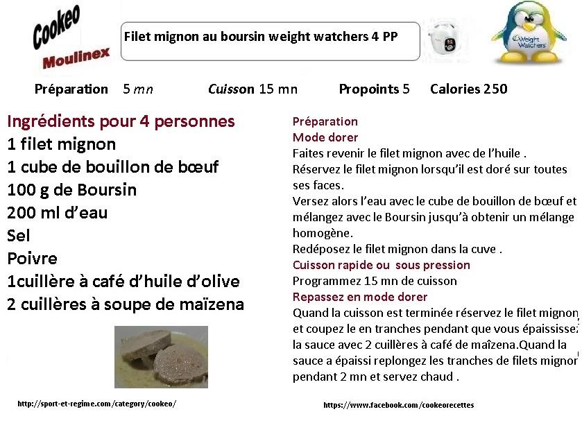 Filet mignon au Boursin weight watchers au cookeo