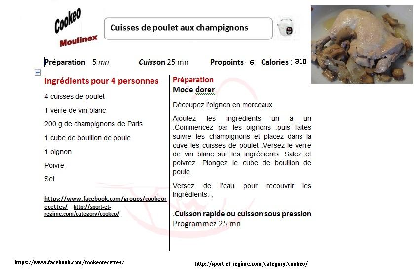 Cuisses De Poulet Aux Champignons Au Cookeo Recettes