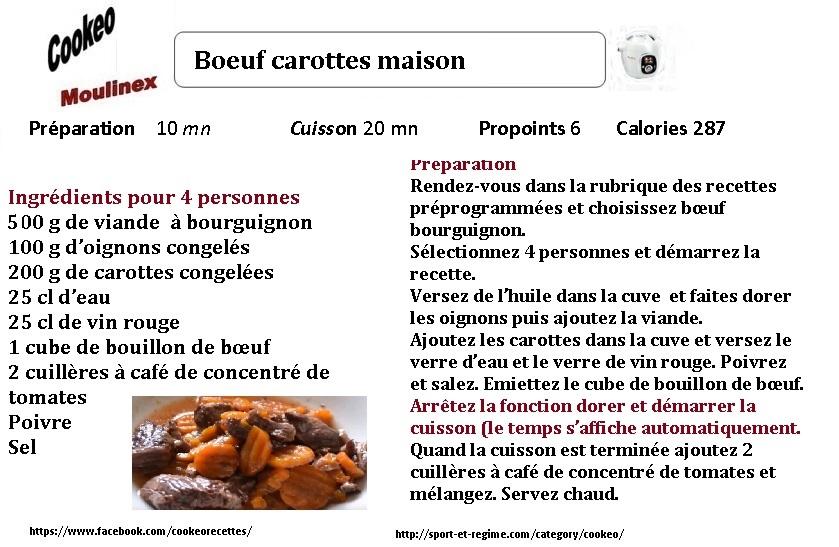 Recette cookeo diététique boeuf carottes