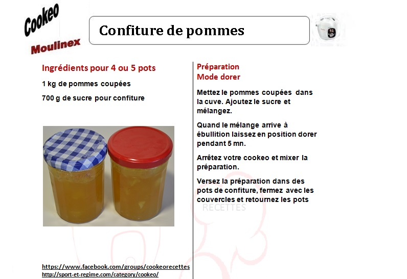 Confiture de pommes une recette cookeo