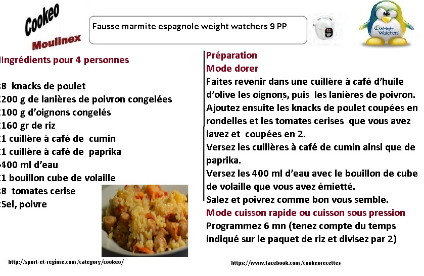 fausse marmite espagnole weight watchers