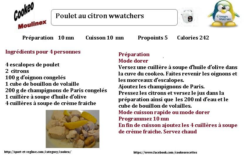 recette cookeo poulet au citron weight watchers