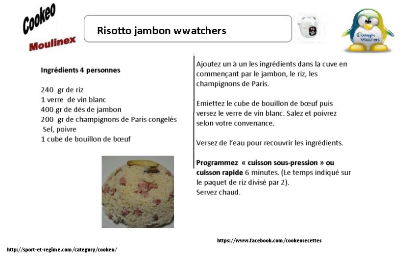 risotto jambon weight watchers AU COOKEO