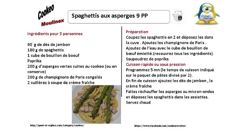 spaghettis aux asperges weight watchers