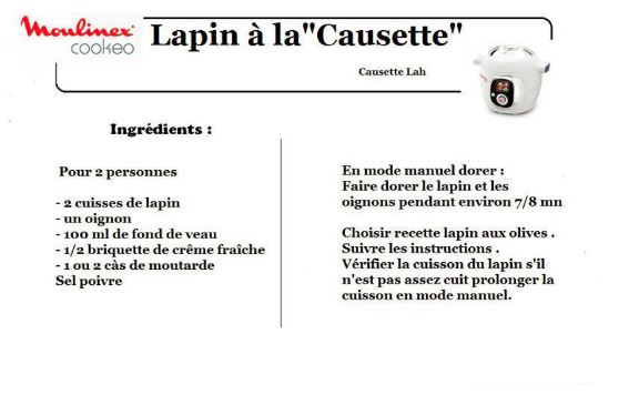 lapin causette cookeo
