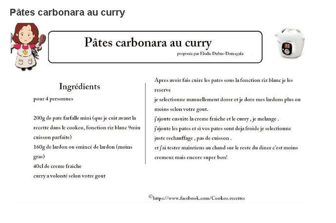 pates carbonara curry cookeo
