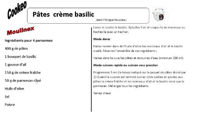 pates creme basilic cookeo