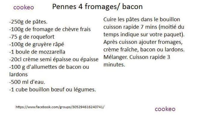 pennes 4 fromages