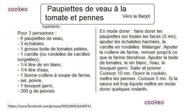 paupiettes tomates et pennes cookeo