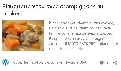 Blanquette veau cookeo (Recette360)