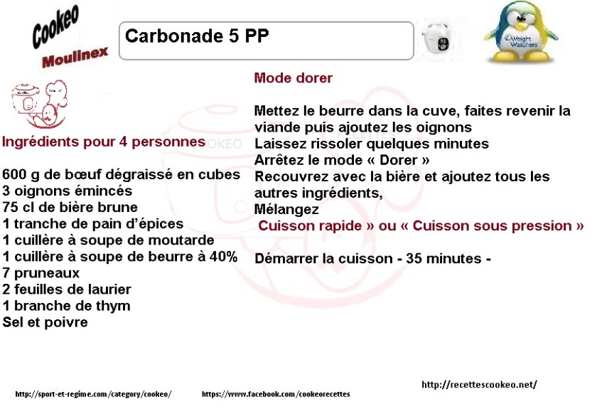 Fiche cookeo carbonnade weight watchers 5 PP 15 SP